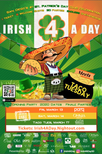 2020 Irish 4 A Day ~ San Diego's #1 St. Patrick's Day Party Hop! (I) Fri. March 13 (II) Sat. March 14