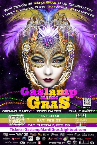 2020 San Diego Gaslamp Mardi Gras: Friday Feb 21, Saturday Feb 22, Fat Tuesday Feb 25