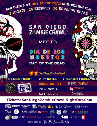 San Diego Zombie Crawl Meets Day of the Dead | Oct 25, 26, 31, Nov 1, 2, 2019