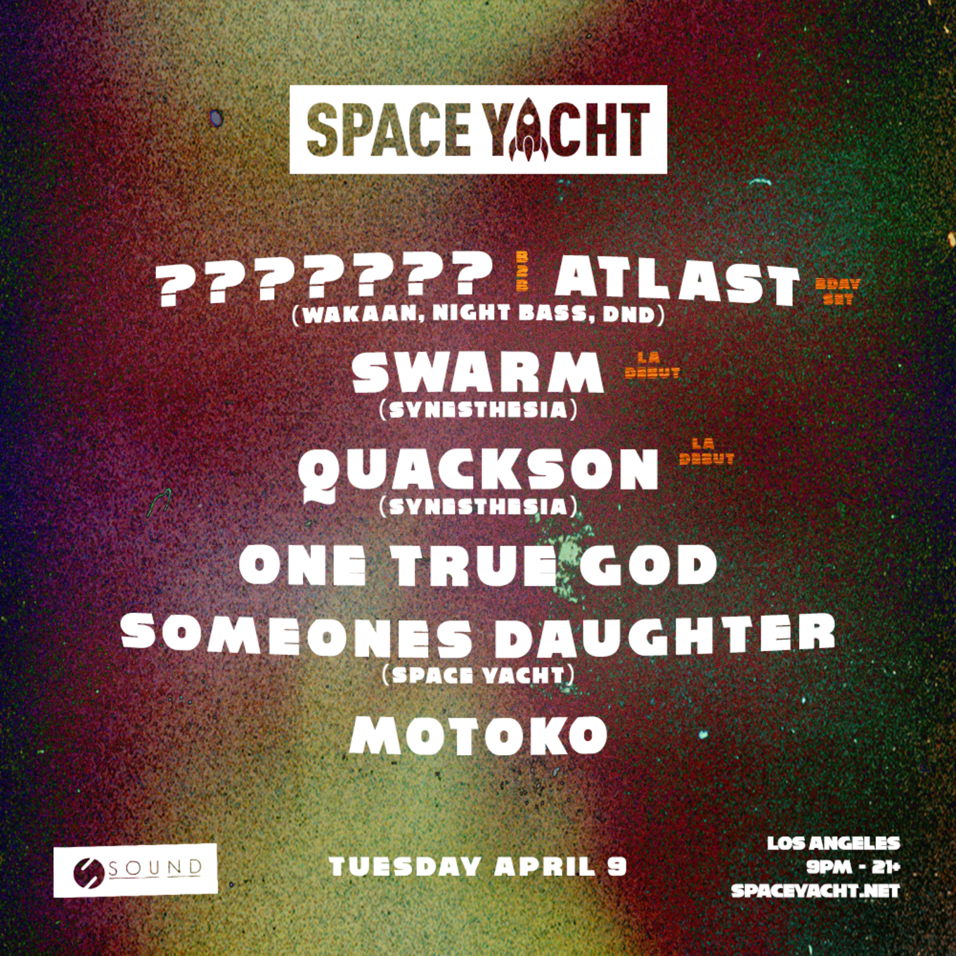 d701bfd1e Space Yacht  Mid-tempo Madness - Tickets - Sound Nightclub
