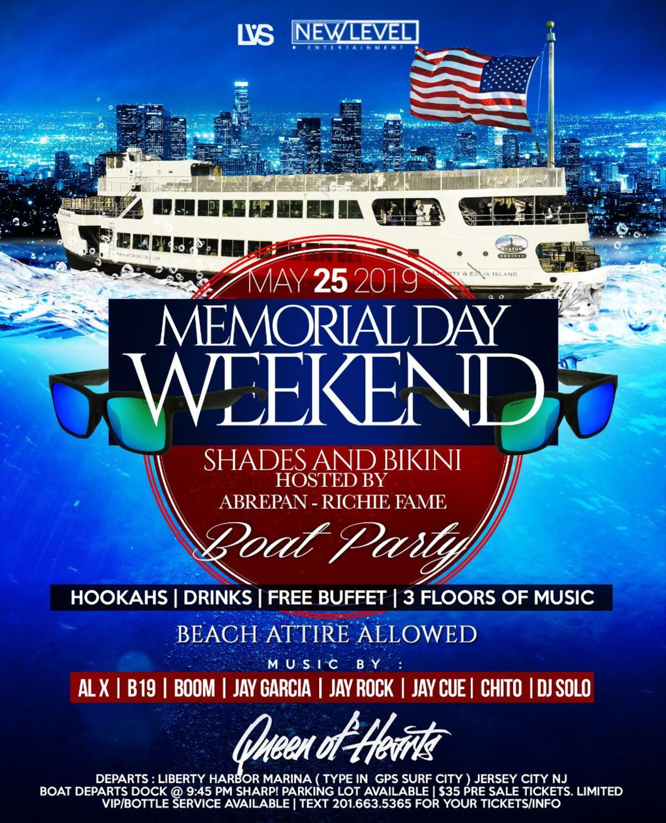 Memorial Day Weekend Boat Party Cruise At Liberty Harbor