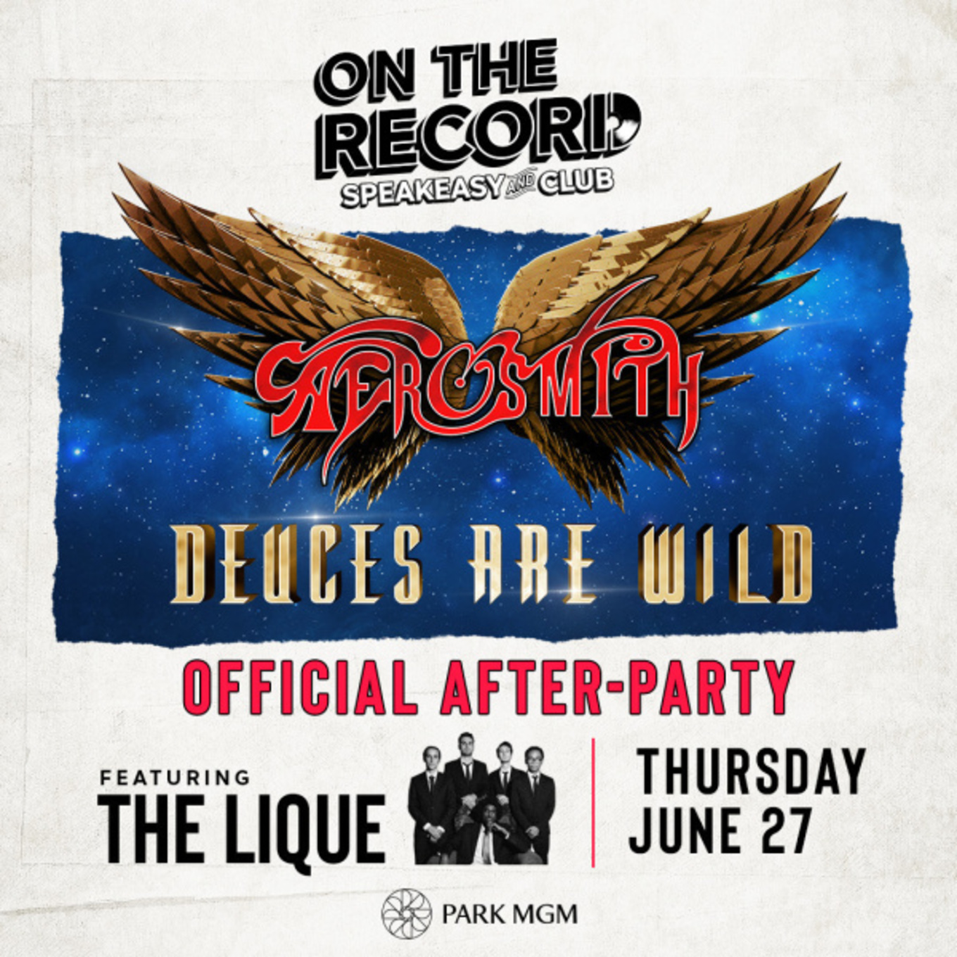On The Record feat  AEROSMITH AFTER PARTY - Tickets - PARK