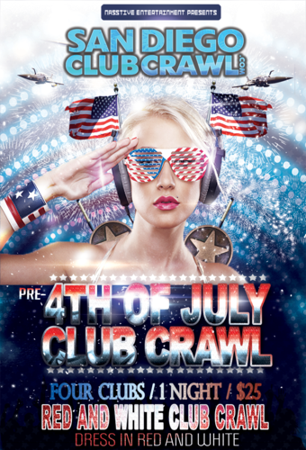 Pre-4th of July RED & WHITE CLUB CRAWL- Wednesday, July 3rd!