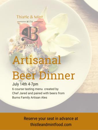 Thistle & Mint at Burns Family Ales: Artisanal Beer Dinner
