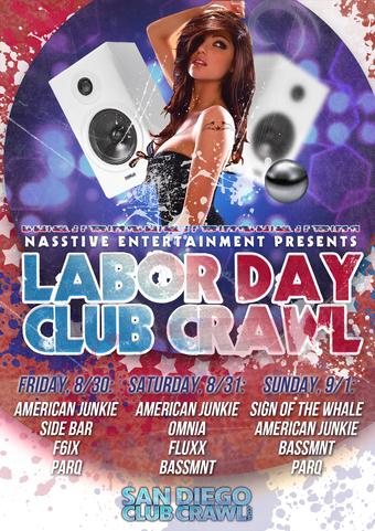 SAN DIEGO LABOR DAY SUNDAY BAR and CLUB CRAWL