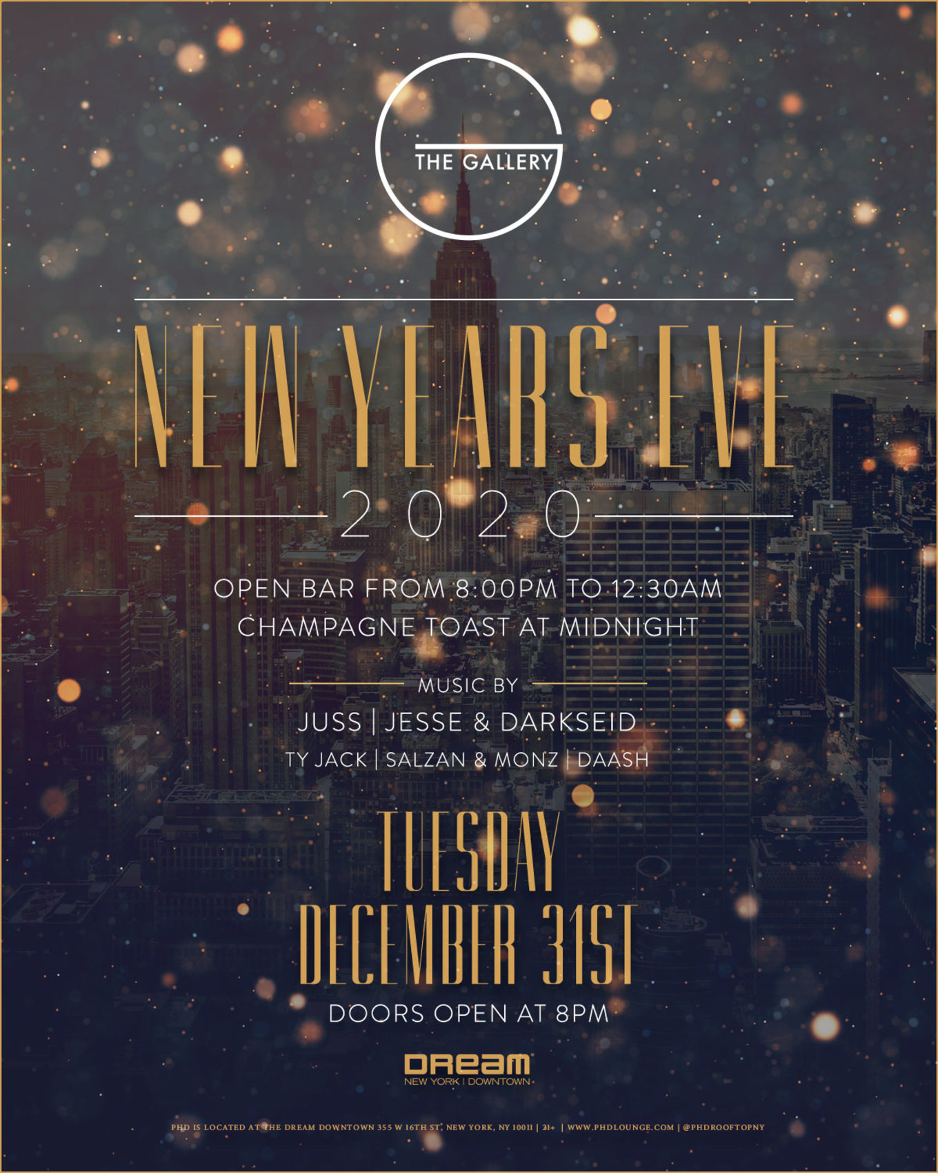 DREAM DOWNTOWN NEW YEAR'S EVE 2020 at THE GALLERY ...