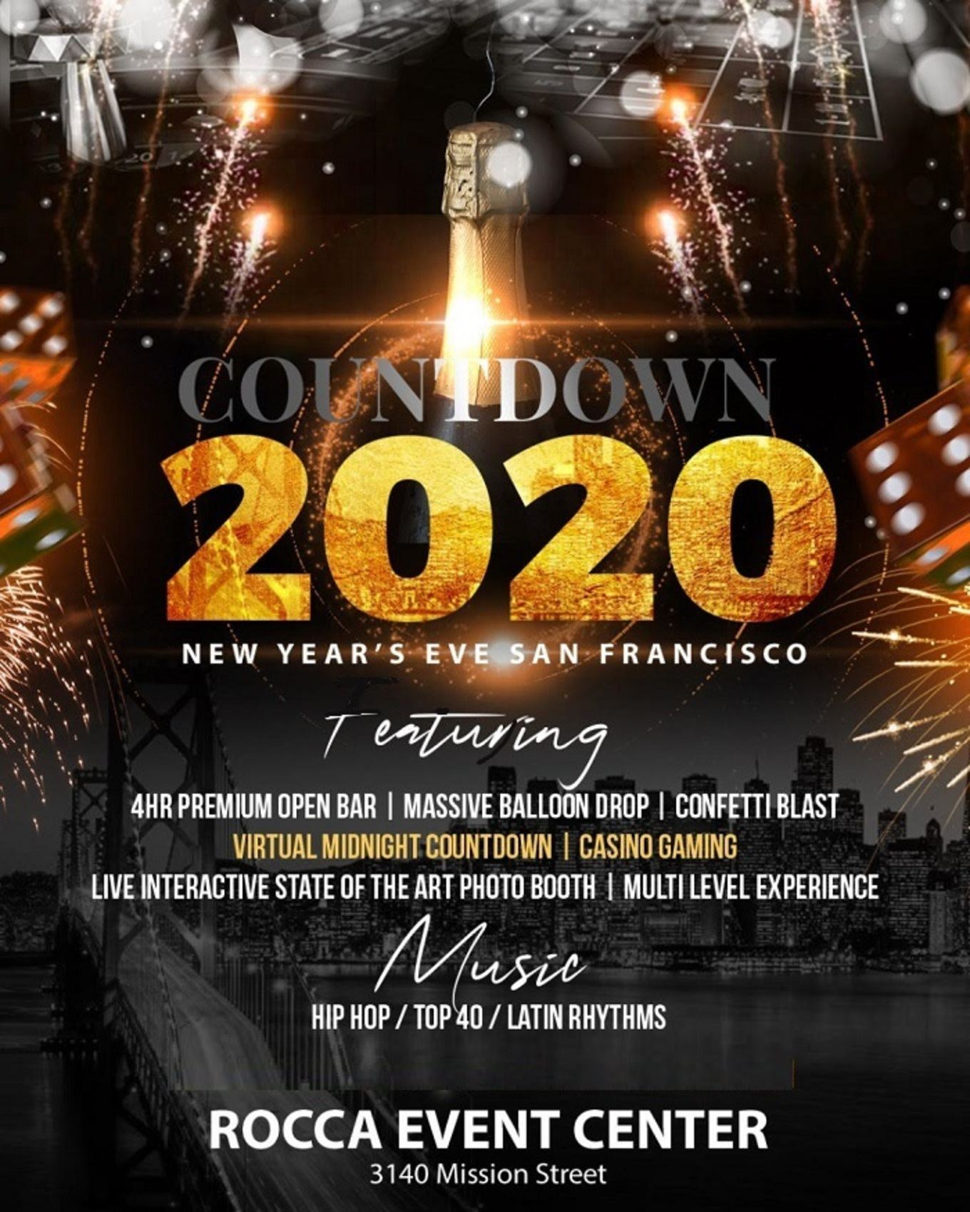 Countdown 2020 New Year S Eve San Francisco Tickets Rocca Event Center San Francisco Ca December 31 2019