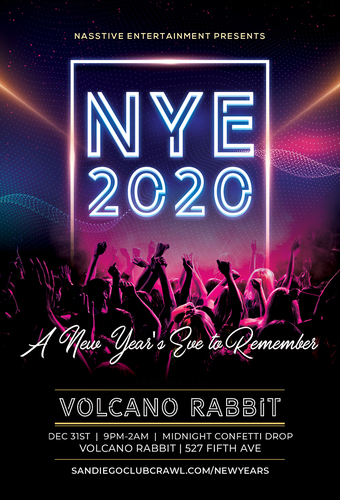 San Diego NYE 2020 Party at Volcano Rabbit!