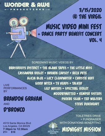 Wonder & Awe Productions presents Music Video Mini Fest + Benefit Concert + Dance Party vol. 4