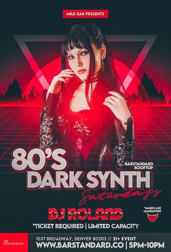 Milk Bar Presents: 80's Dark Synth Saturdays Rooftop Happy Hour