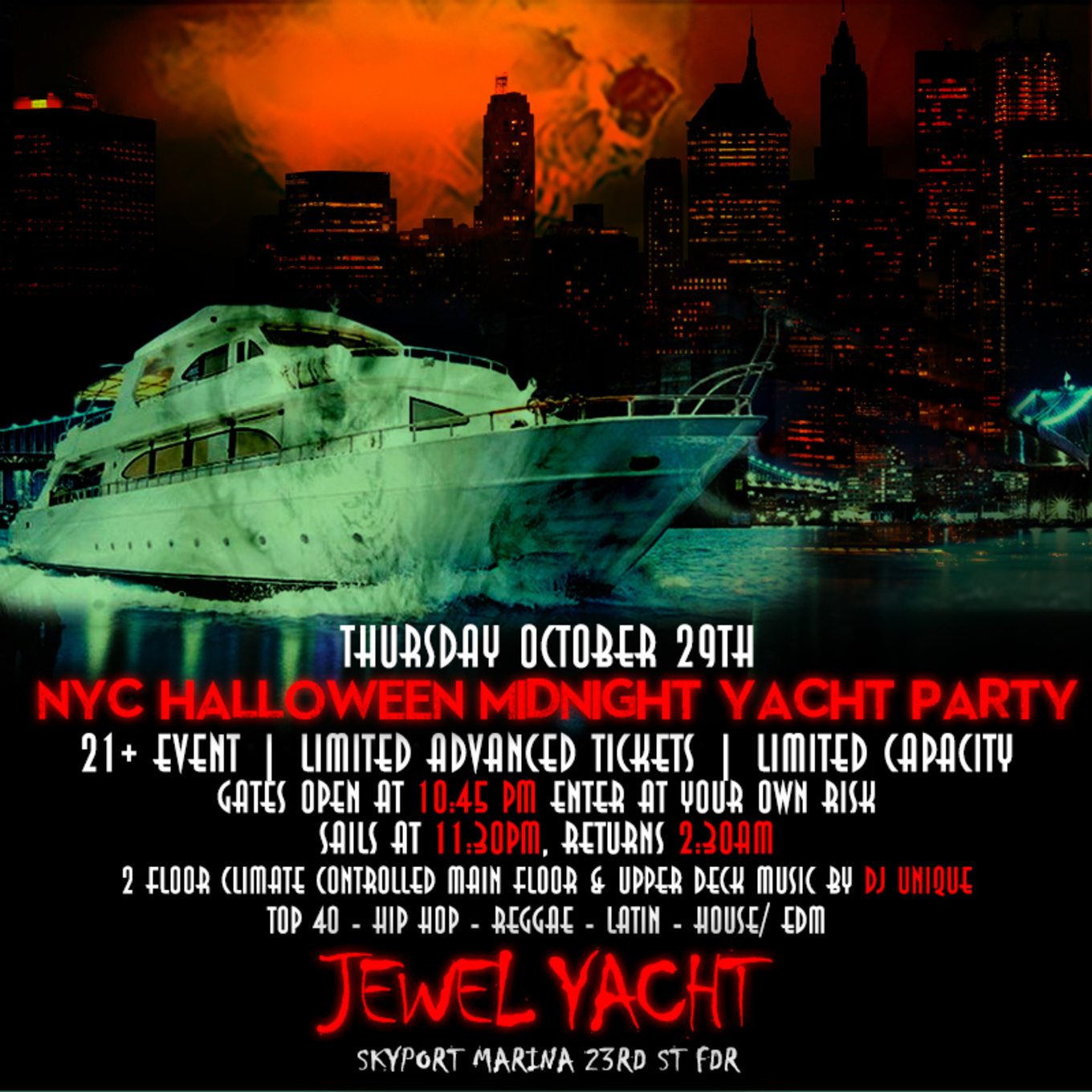 Halloween Dj Nyc 2020 NYC Halloween HipHop vs Reggae® Midnight Cruise Skyport