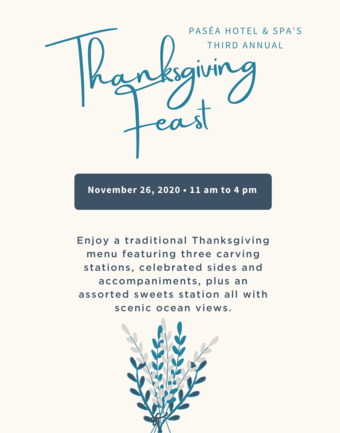 Thanksgiving Dinner at Paséa Hotel & Spa 2020