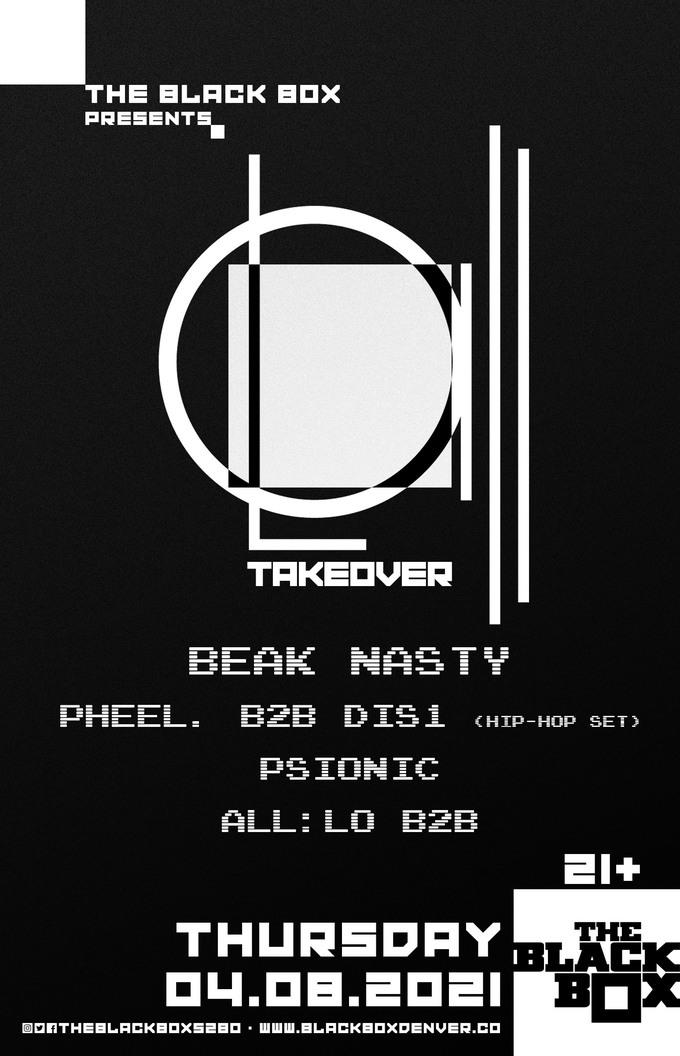 all:Lo Takeover: Beak Nasty, pheel. B2B Dis1 (Hip Hop Set), Psionic, all:Lo B2B