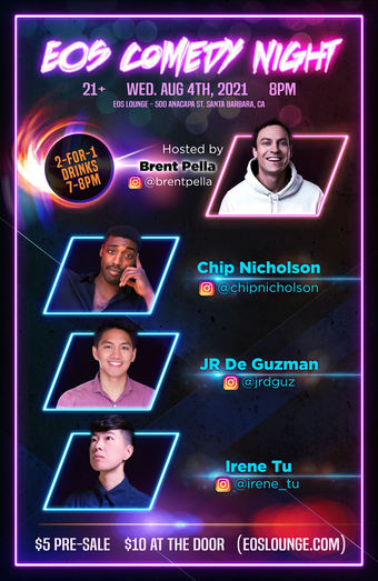 Comedy Night @ EOS Lounge Doors at 7pm 8.4.21