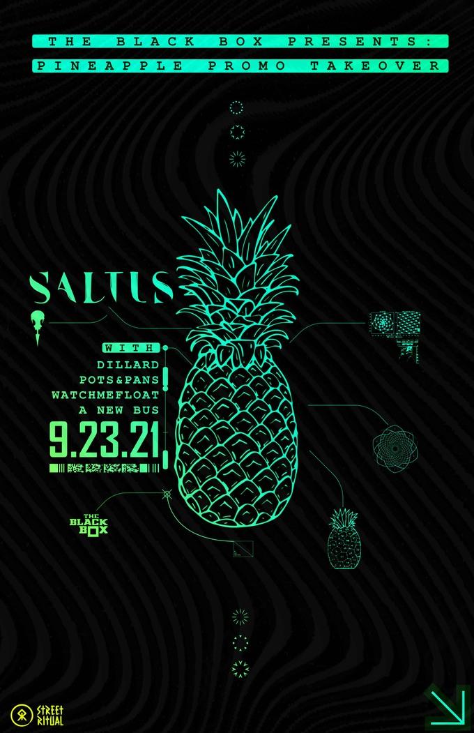 Pineapple Promotions: Saltus w/ Dillard, Pots & Pans, Watchmefloat, A New Bus