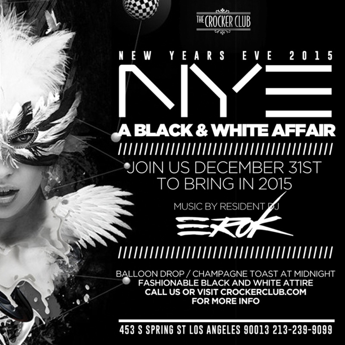 A Black  White Affair Tickets The Crocker Club Los Angeles - Los angeles poster black and white