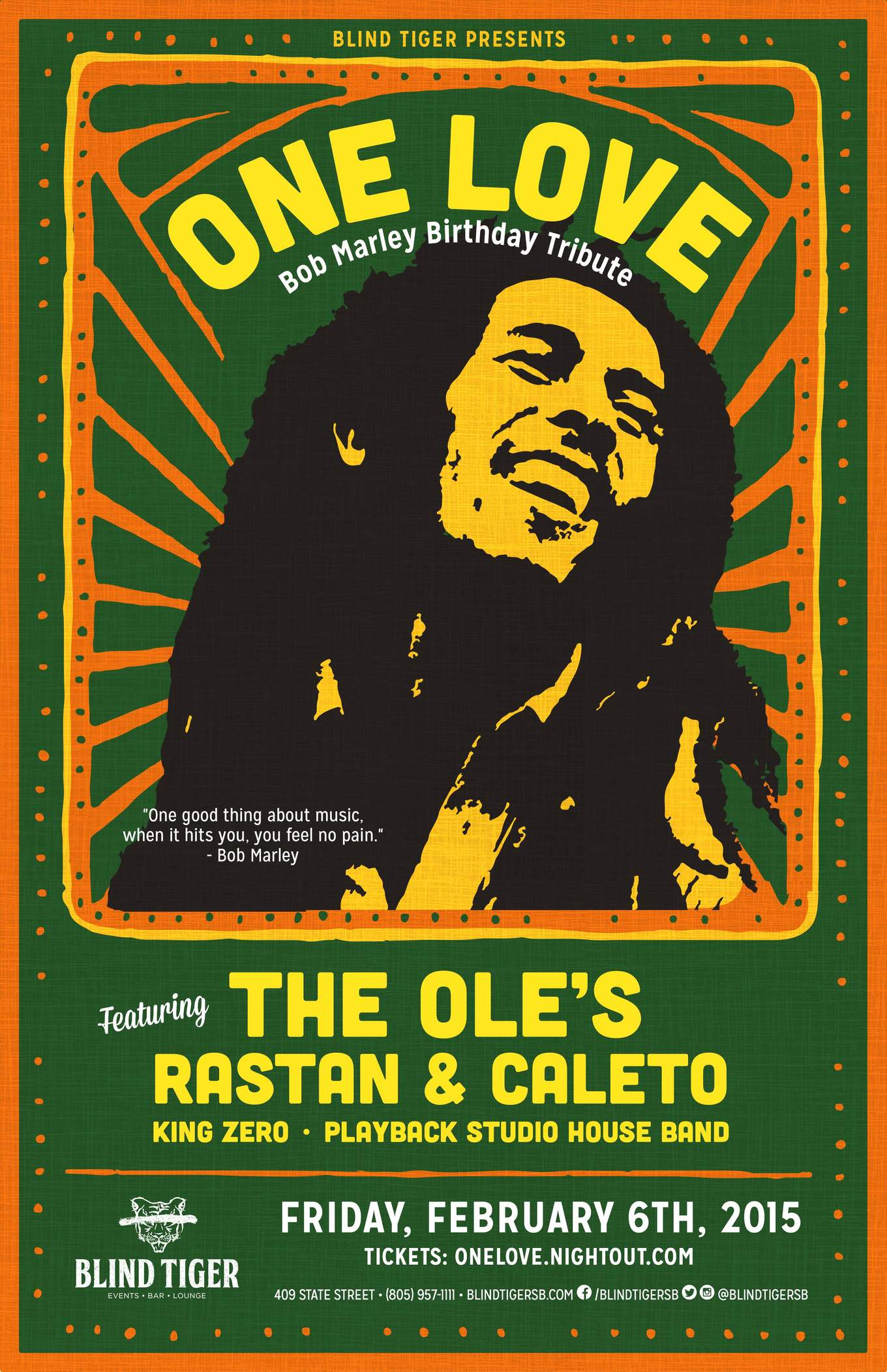 one love bob marley birthday tribute tickets blind tiger entertainment bar kitchen. Black Bedroom Furniture Sets. Home Design Ideas